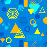 Abstract seamless pattern in postmodern Memphis Style blue yellow orange Royalty Free Stock Photos
