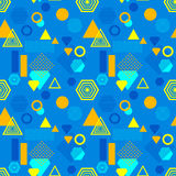Abstract seamless pattern in postmodern Memphis Style blue yellow orange Royalty Free Stock Photography