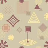 Abstract seamless pattern in postmodern Memphis Style in coffee colors Royalty Free Stock Photo
