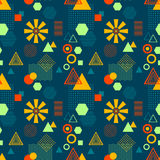 Abstract seamless pattern in postmodern Memphis Style on dark blue Stock Photography