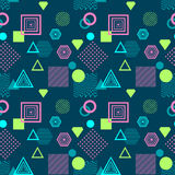 Abstract seamless pattern in postmodern Memphis Style on dark blue Stock Images