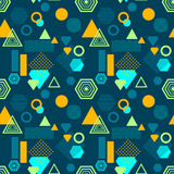 Abstract seamless pattern in postmodern Memphis Style on dark blue Royalty Free Stock Photo