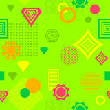 Abstract seamless pattern in postmodern Memphis Style green orange red yellow Stock Photos