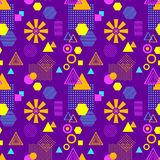 Abstract seamless pattern in postmodern Memphis Style lilac blue pink orange Royalty Free Stock Images