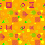 Abstract seamless pattern in postmodern Memphis Style orange green   lilac Stock Photos