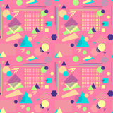 Abstract seamless pattern in postmodern Memphis Style on pink Stock Image