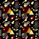 Abstract seamless pattern in postmodern Memphis Style white black red beige. Abstract seamless pattern from geometric form in postmodern Memphis Style white Stock Illustration