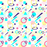 Abstract seamless pattern in postmodern Memphis Style on White. Abstract seamless pattern from geometric form in postmodern Memphis Style on white background for Stock Images