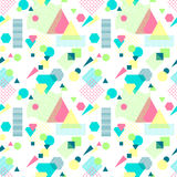 Abstract seamless pattern in postmodern Memphis Style on White. Abstract seamless pattern from geometric form in postmodern Memphis Style on white background for Royalty Free Stock Photo
