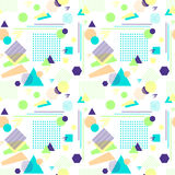 Abstract seamless pattern in postmodern Memphis Style on White. Abstract seamless pattern from geometric form in postmodern Memphis Style on white background for Royalty Free Stock Image