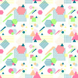 Abstract seamless pattern in postmodern Memphis Style on White. Abstract seamless pattern from geometric form in postmodern Memphis Style on white background for Stock Photo