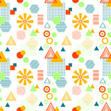 Abstract seamless pattern in postmodern Memphis Style on White Royalty Free Stock Images