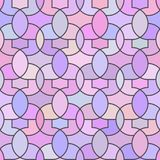Abstract seamless pattern in purple tones with rounded elements. Abstract seamless pattern with rounded elements in cool lilac-pink tones with a dark outline stock illustration