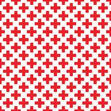 Abstract seamless pattern with red crosses on white background. Modern Swiss design in bauhaus style. Good idea for textile, wallpaper, shopping poster vector illustration