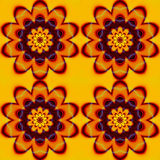 Abstract seamless pattern with red, orange, brown and yellow stylized flowers Royalty Free Stock Image