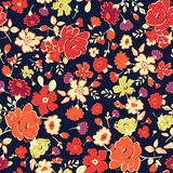 Abstract seamless pattern with  red, yellow flowers on b Royalty Free Stock Image