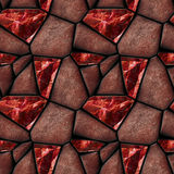 Abstract seamless pattern of reddish polygonal stones and red crystals resembling gemstones Royalty Free Stock Photo
