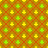 Abstract seamless pattern with rhombus and leaves  Royalty Free Stock Photos