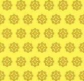 Abstract seamless pattern. Pattern of round brown abstract shapes with curls on a yellow background Stock Image