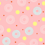 Abstract seamless pattern with round elements. Pink, yellow, blue, orange colour. Vector illustration Royalty Free Stock Photography