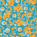 Abstract seamless pattern. Of rounded shapes. Blue and yellow royalty free illustration