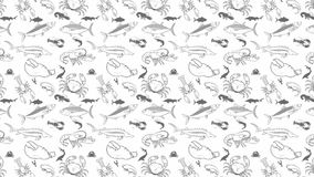 Abstract seamless pattern with seafood stock video