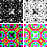 Abstract seamless Pattern - set of colorful Rings in four variants. Stock Photo