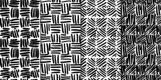 Abstract seamless pattern set with hand drawn lines. Abstract seamless pattern set of 4 seamless backgrounds with hand drawn lines royalty free illustration