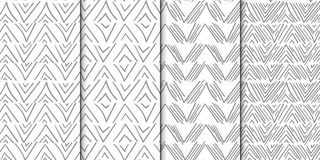 Abstract seamless pattern set with hand drawn lines. Abstract seamless pattern set of 4 backgrounds with hand drawn lines stock illustration