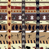 Abstract seamless pattern with silhouettes of animals. And intersecting elements Stock Photography