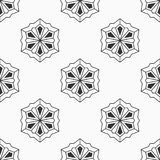 Abstract seamless pattern of six-pointed stars. Fashion flat design. Stylized snowflakes. Regularly repeating geometric shapes. Vector background royalty free illustration