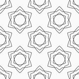 Abstract seamless pattern of six-pointed stars. Abstract seamless pattern of six-pointed stars made of triangular shapes. Fashion design. Linear style. Vector vector illustration