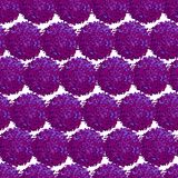 Abstract seamless pattern with small furry pompoms. Vector seamless pattern with small furry flowers or pompoms in purple bright color can be used for web, print Royalty Free Stock Image