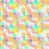 Abstract seamless pattern with small transparent colored balls arranged chaotically. Royalty Free Stock Image
