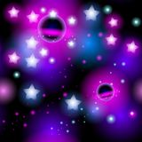 Abstract seamless pattern space with stars. Vector. Illustration Royalty Free Stock Photo
