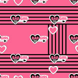 Abstract seamless pattern with stickers and hearts. stock illustration
