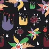 Abstract seamless pattern with strange flowers. Vector seamless background with flowers on a black background for your design Royalty Free Illustration
