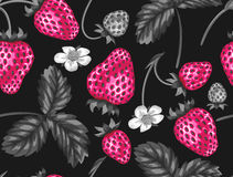 Abstract seamless pattern with strawberries in a pop art style Royalty Free Stock Images