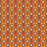 Abstract seamless pattern with strips. Bright seamless pattern with dark blue retro flowers on background from yellow and orange strips Royalty Free Stock Image