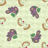 Abstract seamless pattern with stylized flowers. Abstract seamless pattern with simple floral stylized elements on a green and white messy background Stock Image