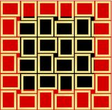 Abstract seamless pattern texture of golden rectangular frames over black and red background template Vector illustration. Computer graphic design cartoon vector illustration