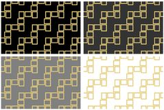 Abstract seamless pattern texture of golden rectangular frames over black white and grey background template Vector illustration. Computer graphic design vector illustration