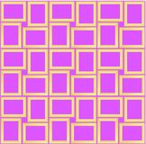 Abstract seamless pattern texture of golden rectangular frames over violet background template Vector illustration. Computer graphic design cartoon illustration royalty free illustration