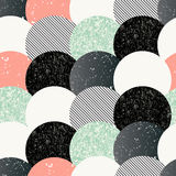 Abstract seamless pattern with textured circles. Royalty Free Stock Images
