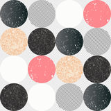 Abstract seamless pattern with textured circles. Stock Images