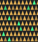 Abstract seamless pattern with triangles in bright blue gold and Royalty Free Stock Photo