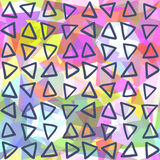 Abstract seamless pattern. Triangles drawn on geometric shapes Royalty Free Stock Photo