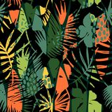 Abstract seamless pattern with tropical leaves. Royalty Free Stock Image