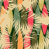 Abstract seamless pattern with tropical leaves. Stock Image