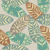Abstract seamless pattern with tropical leaves Royalty Free Stock Image